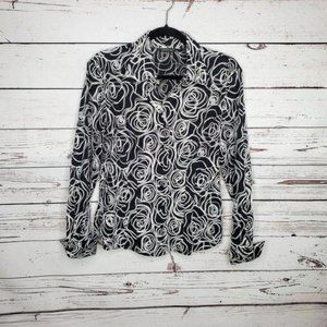 Samuel Dong Embroidered Button Down Top Sz M